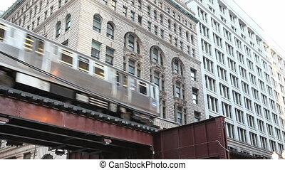 Elevated Train in Chicago - Elevated train in Chicago. The L...