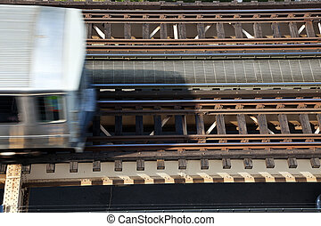 Elevated train trucks