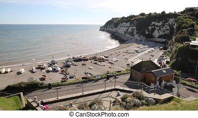 Elevated view Beer coast and beach Devon England UK English coastal village on the Jurassic Coast a World Heritage Site