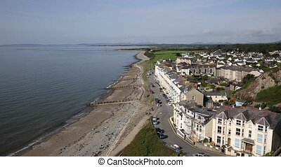 Elevated view Criccieth North Wales UK historic coastal town...