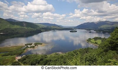 Derwent Water Lake District National Park Cumbria south of Keswick surrounded by mountains elevated view