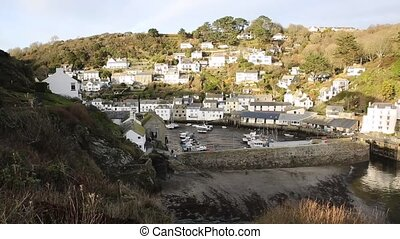 Elevated view of English harbour Polperro Cornwall South West England UK smooth professional video pan