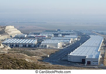 elevated view of a new industrial zone