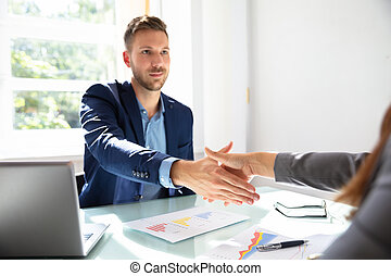 Businessman Shaking Hands With His Partner