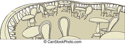 Elevated view of cafe - This illustration is a common...