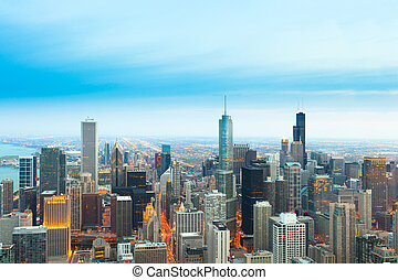Aerial view of downtown Chicago, Illinois, USA