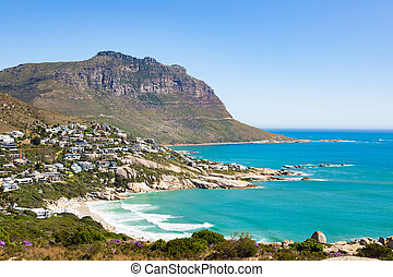 Llandudno beach and seaside town of Cape Town - Elevated ...