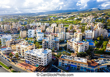 Elevated view of residential area in Limassol. Cyprus