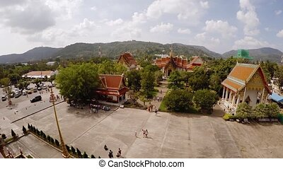 """""""Elevated view of Wat Chalong's courtyard and secondary buildings from atop the main temple structure in Phuket, Thailand. Video Full HD"""""""
