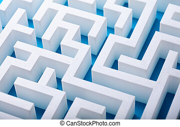 Elevated View Of Abstract Empty White Maze