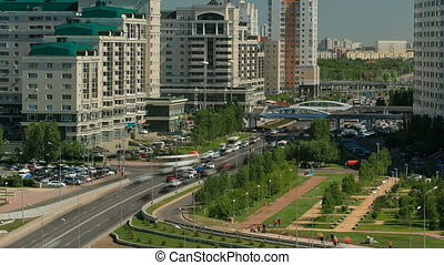 Elevated view over the city center and central business district  Timelapse, Kazakhstan, Astana