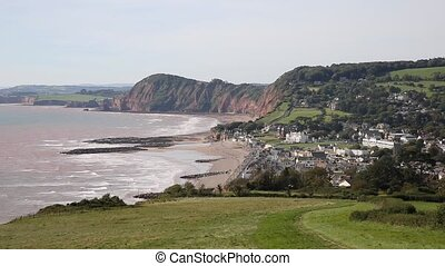 Elevated view towards Sidmouth Devon England UK on the Jurassic Coast and the South West Coast Path