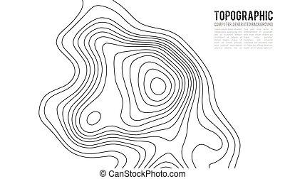 elevation., 地図, 地形である, ハイキング, 山, 地形, 抽象的, イラスト, 輪郭, topo, ...