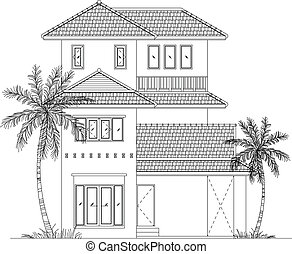 elevation house vector - elevation house drawing line, EPS10...