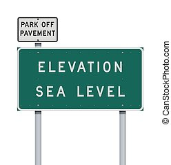 Vector illustration of the Elevation Sea Level green road sign