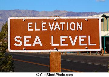 Elevation Sea Level Sign