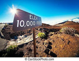 Elevation Sign at the Summit of Haleakala, Maui