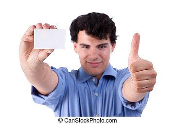 elevato, colpo, pollice, affari, successo, mano, isolato, giovane, segno, fondo., studio, vuoto, uomo affari, bianco, scheda