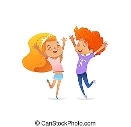 elevato, concetto, manifesto, ballo, salto, sorridente, bambini, allegramente, bandiera, positivo, due, altro, rosso, illustrazione, emotions., fronte, stampa, hands., ottimismo, vettore, ciascuno, website.