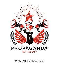 elevato, illustration., composto, vettore, control., globo, manipolazione, presentazione, terra, manifesto, braccio, prese, mezzi, altoparlanti, propaganda, globale