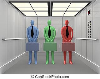 Elevator #2 - 3d people inside a company elevator.