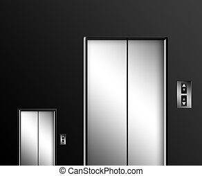 Elevator - Big and small elevator door on black wall....