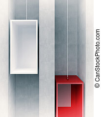 elevator concept - 3d image of red and white elevator