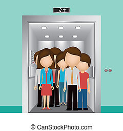 people in elevator clipart. elevator design over blue background, vector illustration people in clipart f