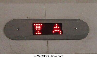 Elevator. Digital display -  Digital display. Elevator.