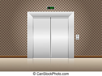 elevator doors closed illustration