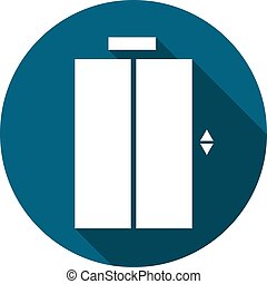 Elevator doors icon, open and close. Flat style vector illustration