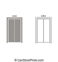 elevator doors clipart. elevator doors it is black icon . simple style. clipart