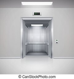 Elevator Doors - Realistic Empty Modern Elevator with Open...