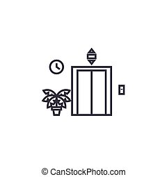 elevator entrance vector line icon, sign, illustration on...