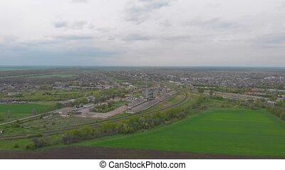 Elevator green field aerial drone view camera movement