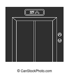 Elevator icon in black style isolated on white background. Hotel symbol stock vector illustration.