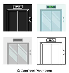 Elevator icon in cartoon style isolated on white background. Hotel symbol stock vector illustration.