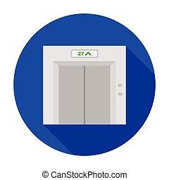 Elevator icon in flat style isolated on white background. Hotel symbol stock vector illustration.