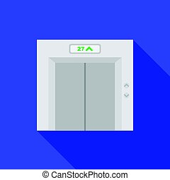 Elevator icon in flat style isolated on white background. Hotel symbol stock vector illustration.