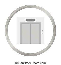 Elevator icon in monochrome style isolated on white background. Hotel symbol stock vector illustration.
