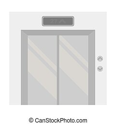Elevator icon in monochrome style isolated on white background. Hotel symbol stock vector illustration.