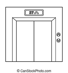 Elevator icon in outline style isolated on white background. Hotel symbol stock vector illustration.