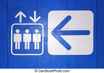 Elevator icon sign White Arrow symbol lift on blue background, Elevator symbol Concept Warning information sign Flat style on concrete wall blue