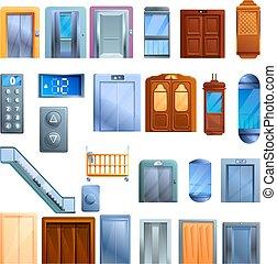 Elevator icons set, cartoon style