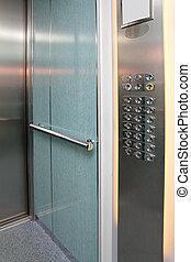 elevator interior with control panel