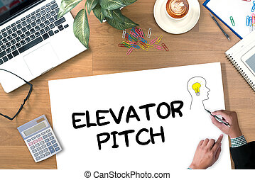 ELEVATOR PITCH digital tablet pc, computer and cup of coffee on wooden table,