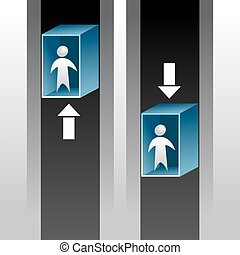 Elevator Ride Icon - An image of abstract people riding an...