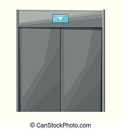 Elevator vector icon. Cartoon vector icon isolated on white background elevator.