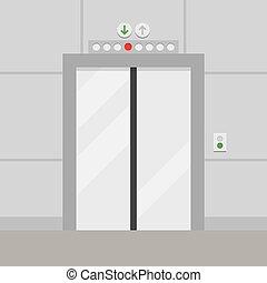elevator with closed door vector illustration