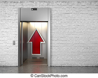 Elevator with opened doors and up arrow - Elevator with ...